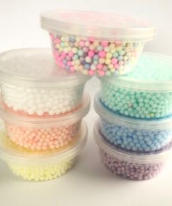 Burkar med lock inkl. Pale Colour Foam Beads 7-pack/set