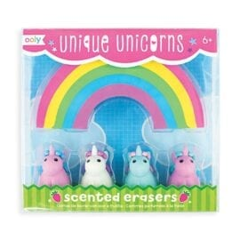 111494-3 OOLY Unique Unicorn Strawberry Scented Erasers