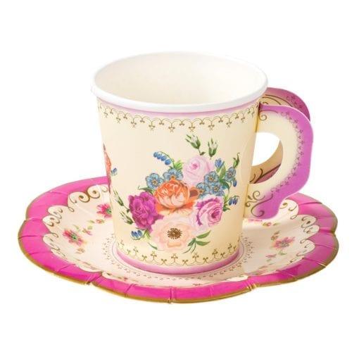 111630-7 Papperskoppar Med Fat Vintage Blommönster - Truly Scrumptious Rosa