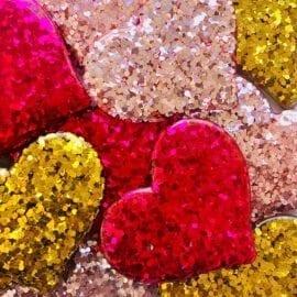 Miniatyr Deco Glitter Hjärtan