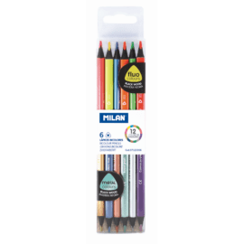 Milan blyertspennor med dubbelspets blackwood metallicfluo