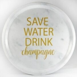 Bricka Save Water Drink Champagne Marmor - Mellow Design