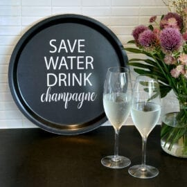 Bricka Save Water Drink Champagne Svart - Mellow Design