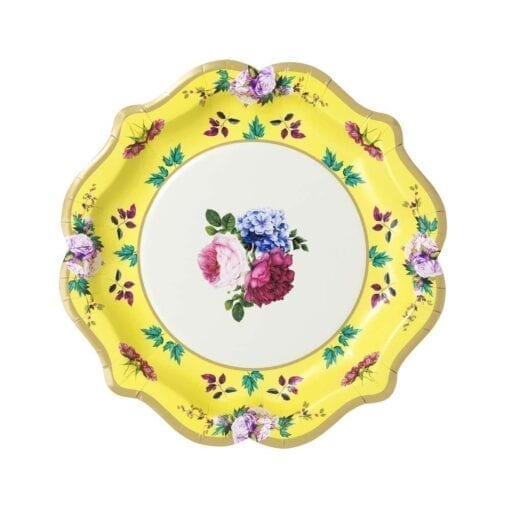 Papperstallrikar Blomster Skulpterad Guldkant - Truly Scrumptious