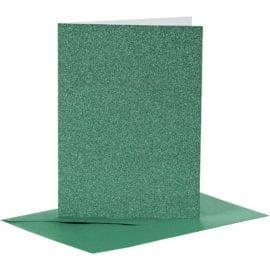 Kort & Kuvert Grön Glitter 10.5x15 cm 4-pack