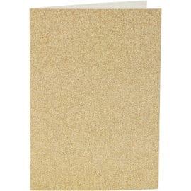 Kort & Kuvert Guld Glitter 10.5x15 cm 4-pack