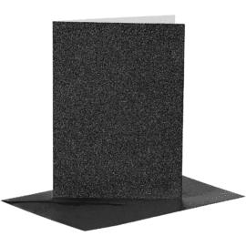 Kort & Kuvert Svart Glitter 10.5x15 cm 4-pack