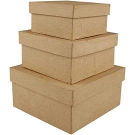 Kvadratiska Askar i Papier-maché 3-pack