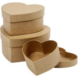 Hjärtformade Askar i Papier-maché 3-pack