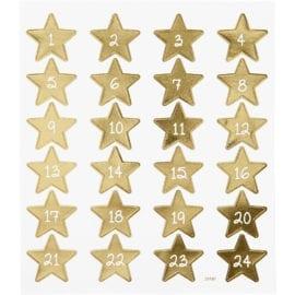 Klistermärke 24 Kalendersiffror Guld