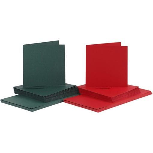 Kort & Kuvert Grön, Röd 15x15 cm 50-pack