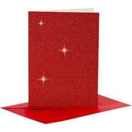 Kort & Kuvert Röd Glitter 10.5x15 cm 4-pack