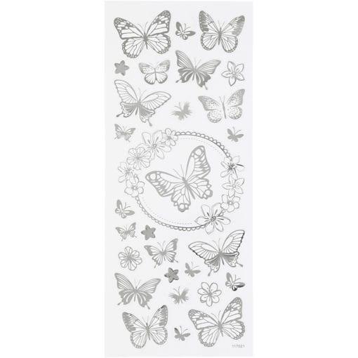 Stickers Fjäril I Silverfolie