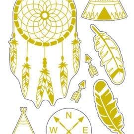 Stickers Indianer Guldfolie