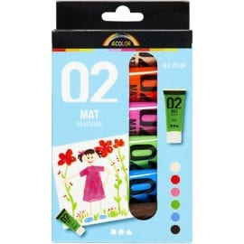 A-Color Akrylfärg 02 Matt 6-pack