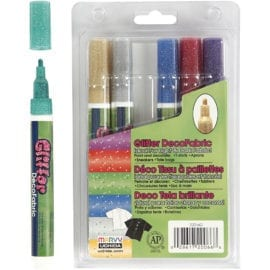 Marvy Uchida Deco Textilpennor Glitter Set om 6