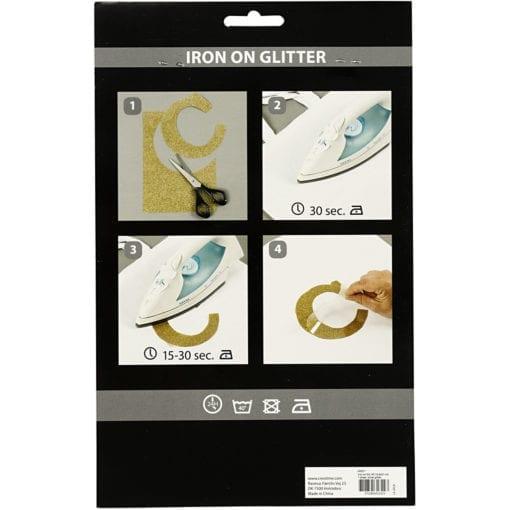 Iron-On Folie Stryktyg Glitterark Silver A5