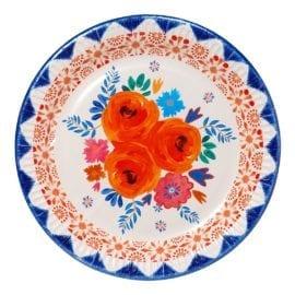 112138 Papperstallrikar Boho Blommönster 23 cm - Boho Spice