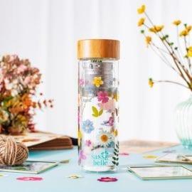 112166-2 Vattenflaska Pressade Blommor Med Infuser
