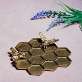 112169 Smyckesfat Gold Honeycomb Bee