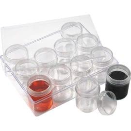 112204 Akrylburkar inkl. Förvaringsask 35 ml 12-pack