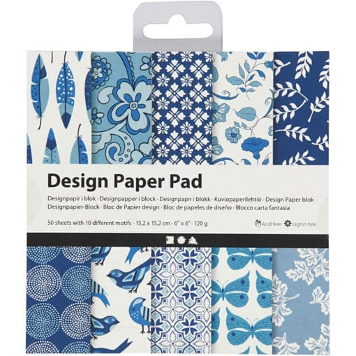 112242-1 Design Paper Pad Blå 50 Ark 120 gram