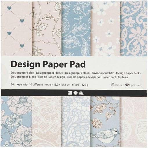 112243 Design Paper Pad Rosa 50 Ark 120 gram