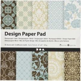 112244 Design Paper Pad Rosa 50 Ark 120 gram Ljusblå Brun