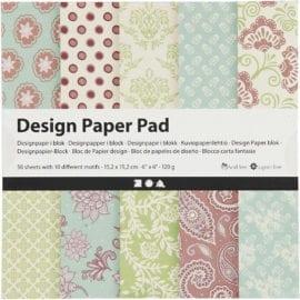 112246 Design Paper Pad Mintgrön Lila 50 Ark 120 g