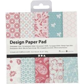 112247-1 Design Paper Pad Mintgrön Rosa 50 Ark 120 g