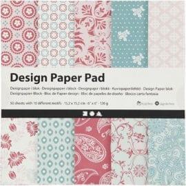 112247 Design Paper Pad Mintgrön Rosa 50 Ark 120 g