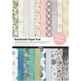 112250 Handmade Paper Pad Floral Garden 20 A4-ark 110 g