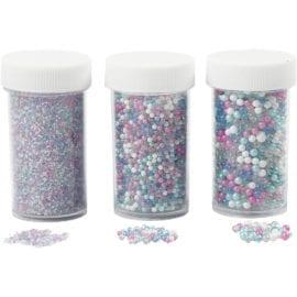 112251 Pärlor Miniglaskulor Mixade Färger 3-pack