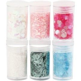 112252 Glitter och Paljetter Mixade Färger 6-pack