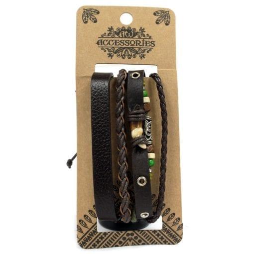 112286-2 Läderarmband Mens Bracelets Set - AW Accessories