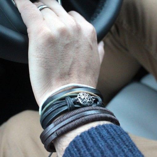112286-2 Lifestyle Läderarmband Mens Bracelets Set - AW Accessories
