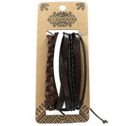 112286-4 Läderarmband Mens Bracelets Set - AW Accessories