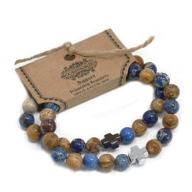 112289-2 Vänskapsarmband Support Sodalite & Picture Stone - AW Accessories