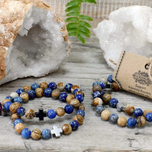 112289-3 Vänskapsarmband Support Sodalite & Picture Stone - AW Accessories