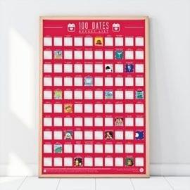 112322 Skrapaffisch - 100 Dates Scratch Off Bucket List Poster