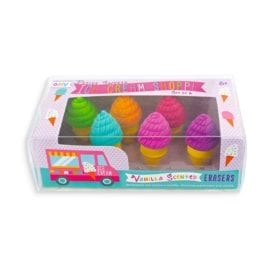 112393 OOLY Luktsudd Petite Sweets Ice Cream Shoppe Scented Erasers - Set om 6