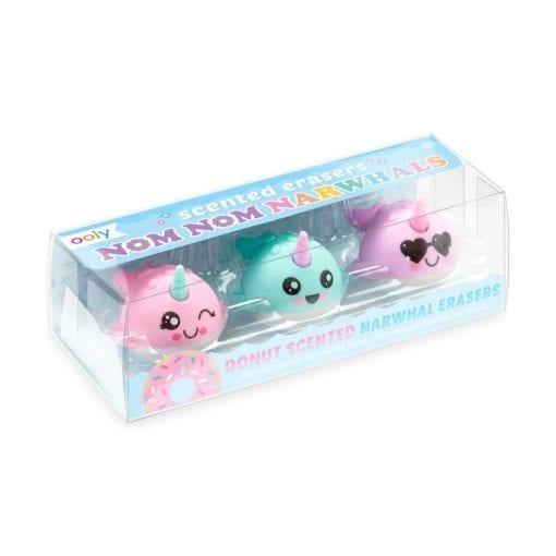112395-2 OOLY Luktsudd Nom Nom Narwhals Scented Erasers - set of 3