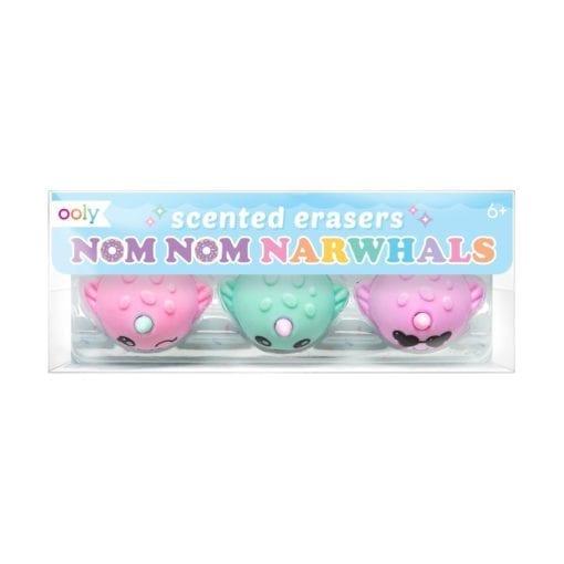 112395-7 OOLY Luktsudd Nom Nom Narwhals Scented Erasers - set of 3
