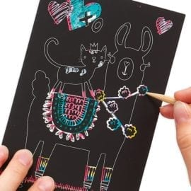 112414-1 OOLY Skrapmotiv Funtastic Friends Scratch & Scribble Mini Art Kit