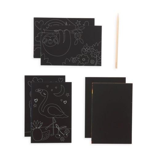 112414-4 OOLY Skrapmotiv Funtastic Friends Scratch & Scribble Mini Art Kit