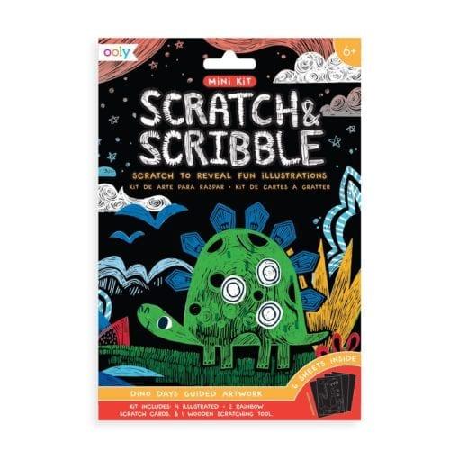 112415-3 OOLY Skrapmotiv Dinosaur Days Scratch & Scribble Mini Art Kit