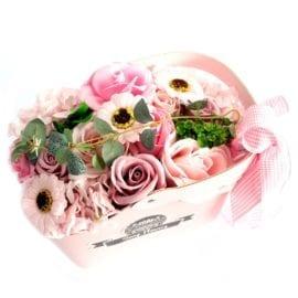 112435 Tvålblommor Rosa Bukett I Presentkorg