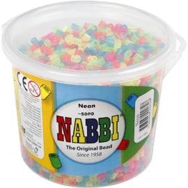 112563 Nabbi Original Rörpärlor Neonfärger Hink 5000 st