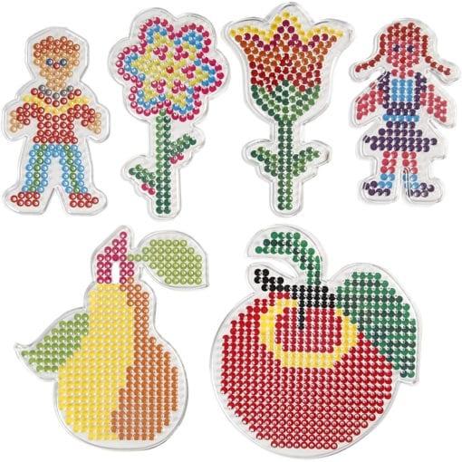 112567 Pärlplattor till Rörpärlor Ø 5 mm Blommor, Frukter, Barn 6-Pack