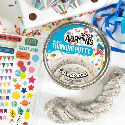 112570 Crazy Aarons Thinking Putty Big Tin Happy Birthday Celebrate